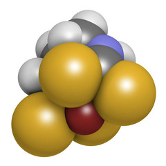 Zineb zinc organosulfur fungicide molecule. 3D rendering. Atoms are represented as spheres with conventional color coding.