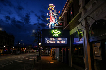 Local restaurant Blueberry Hill pays their respects to the late rock 'n' roll visionary Chuck Berry, where he performed on many occasions, in St. Louis
