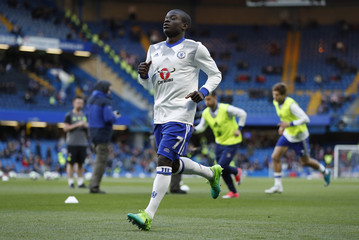 Chelsea's N'Golo Kante warms up before the match