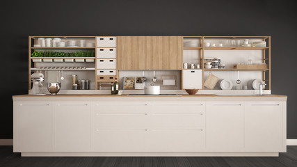 Minimalist white wooden kitchen with appliances close-up, scandinavian classic interior design