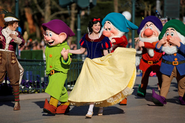 Disney characters attend the 25th anniversary of Disneyland Paris at the park in Marne-la-Vallee, near Paris