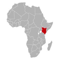 Kenia auf Afrika Karte