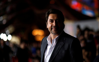 "Actor Bardem poses at the premiere of ""Beauty and the Beast"" in Los Angeles"
