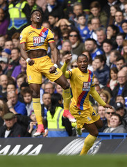 Crystal Palace's Wilfried Zaha celebrates with Jason Puncheon after scoring their first goal