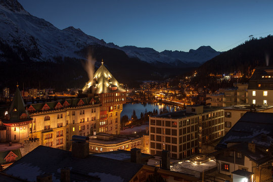 At dawn. Amazing mountain scenery from St. Moritz, Switzerland