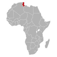 Tunesien auf Afrika Karte