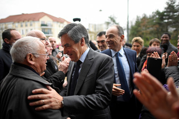 Former French prime minister, Fillon, member of the Republicans political party and 2017 presidential election candidate of the French centre-right, and mayor of Meaux, Cope, meet residents in Meaux