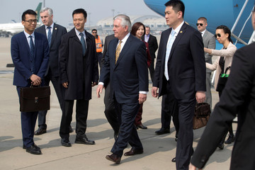 U.S. Secretary of State Rex Tillerson arrives at Beijing Capital International Airport in Beijing