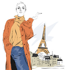Woman with Eiffel tower