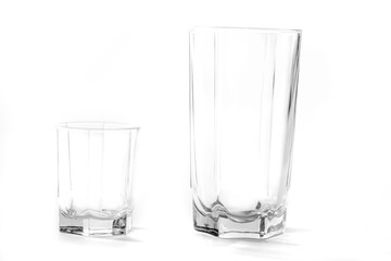two water glass, isolated on white, close up