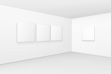 Vector Empty Blank White Mock Up Posters Pictures Frames on Walls with Floor in Gallery