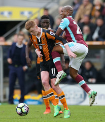 West Ham United's Andre Ayew in action with Hull City's Sam Clucas