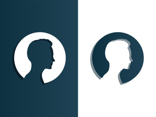 Person silhouette head men - isolated vector illustration