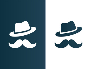 Person hat and mustaches logo - isolated vector illustration