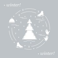 Vector illustration for sports figure skating. Including icons of skates, gloves, hat, spruce.