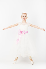 Beautiful ballet dancer isolated on white background.