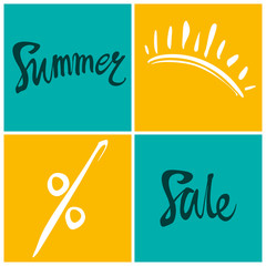 Summer Sale. Bright squares information poster.