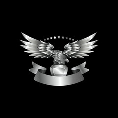 Chrome metal Eagle emblem with ribbon. Heraldic eagle with spread wings template and the jewel in its claws.