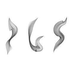 Set of vector realistic black smoke or ink at white background