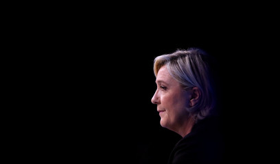 Marine Le Pen, French National Front political party leader and candidate for French 2017 presidential election, attends a meeting focused on civil works in Paris