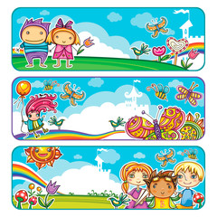 Vector set of horizontal banners, with little children in summer location on playground, in park. Template for advertising brochure, website banners, or kids party invitation