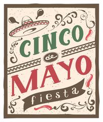 Cinco de Mayo fiesta lettering text. Retro flyer invitation