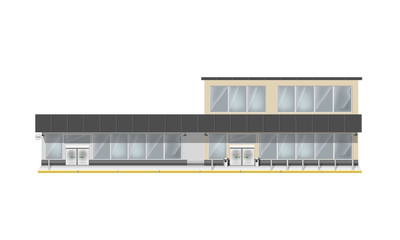Building for supermarket or business center. Big showcase and entrance automatic door. Store with vector panorama windows.