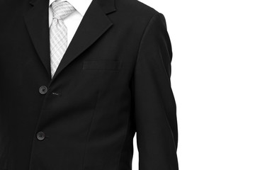 Portrait of the senior CEO in black suit isolated on white background.