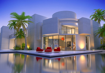 round modern villa with pool