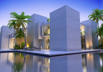 Tower modern villa with pool