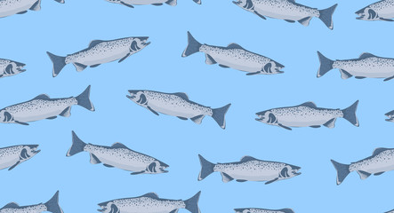 Seamless pattern with fish