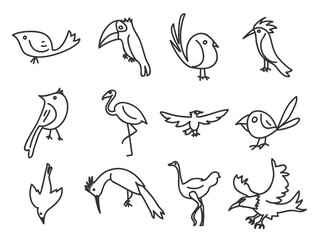 bird  icon hand deawn vector set line art illustration