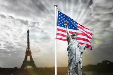 france états-unis usa us relation international internationale politique drapeau statue liberté libre symbole attentat solidaire unifier ensemble soutenir tour eiffel paris