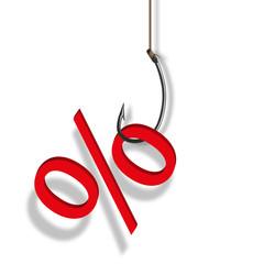 pourcentage - soldes - sondage - promo - bourse - hameçon - promotion