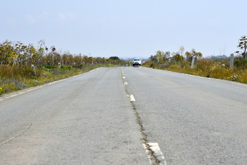 low angle shot of road in Cyprus and approaching car