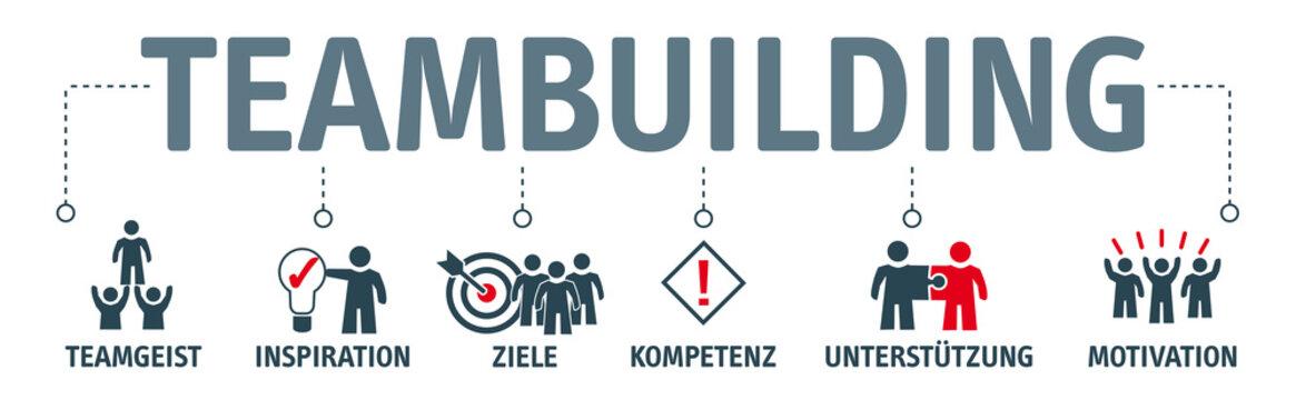Banner Teambuilding mit Symbolen