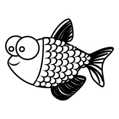 monochrome silhouette of fish with big eyes and scales vector illustration