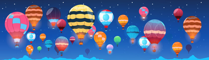 Colorful Air Balloons Flying In Night Sky Banner Flat Vector Illustration