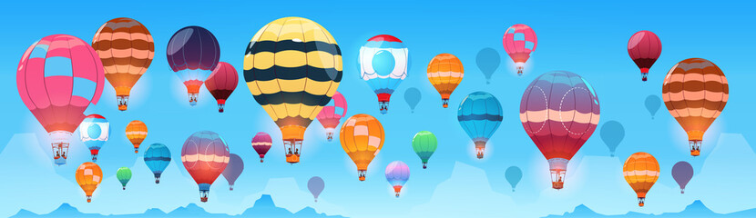 Colorful Air Balloons Flying In Day Sky Banner Flat Vector Illustration