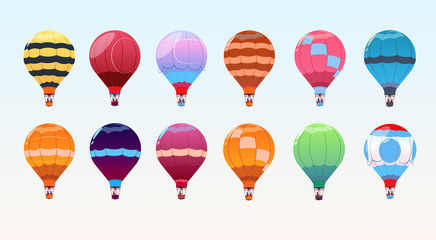 Colorful Air Balloons Set, Airship Collection Flat Vector Illustration