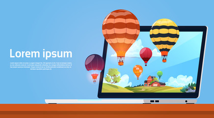 Modern Laptop Computer With Colorful Air Balloons Flying In Sky Image Flat Vector Illustration