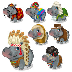 Set of seven hippos in different national costumes