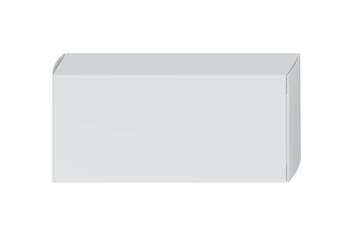 White package box for blister of pills isolated on white background vector illustration. Packaging design element for branding.