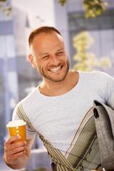 Happy man outdoors