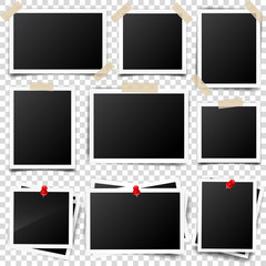 Photo card,frame,film set. Retro,vintage photograph with shadow and tape.Digital snapshot,image.Photography art. Template or mockup for design.Vector illustration on a transparent background.