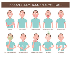 Cartoon character showing the most common food allergy signs and symptoms. Eczema, abdominal pain, dizziness, vomiting and diarrhea. Vector illustration.