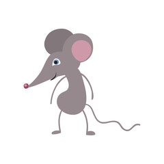 Funny mouse personage vector illustration isolated on white background. Cute wild animal, wildlife character in cartoon style.