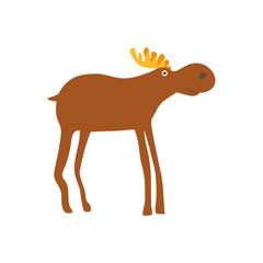 Bull elk personage vector illustration isolated on white background. Cute wild animal, zoo wildlife character in cartoon style.
