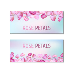 Banners with rose petals
