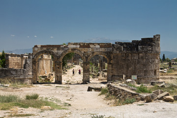 ancient ruins building of anatolian civilization in hierapolis, pamukkale, turkey